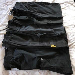 Bundle of 5 black scrub pants, various brands